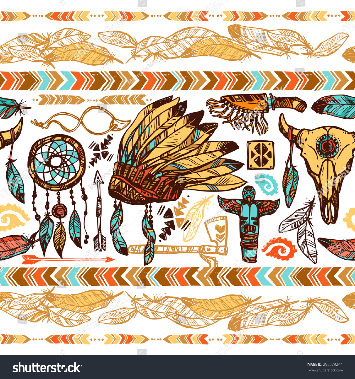 Native american ornaments - Native American Style Feathers Ornaments Tambourine War Bonnet And Totems Color Seamless Pattern Vector Illustration