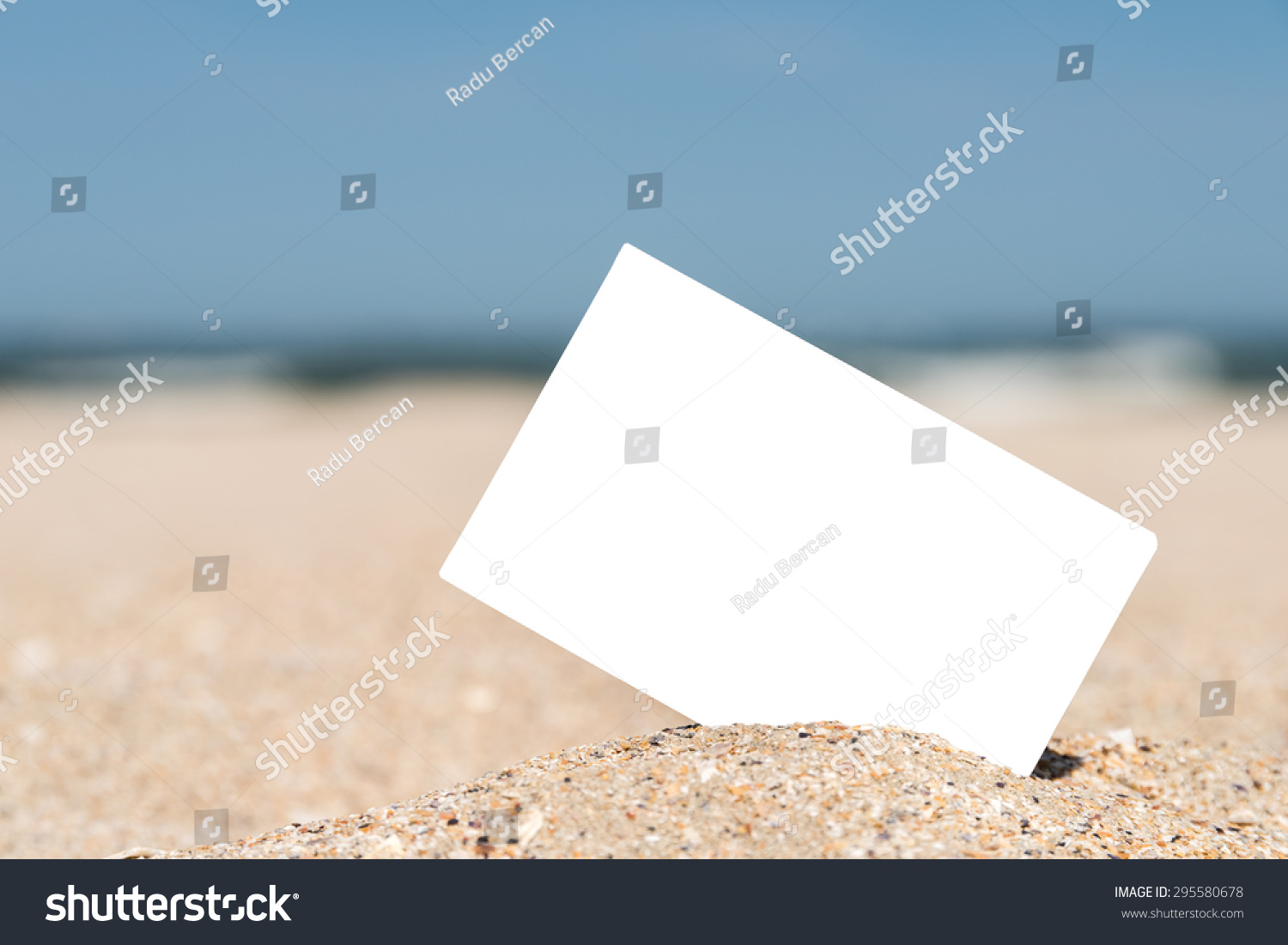 White Blank Business Card On Beach Stock Photo (Royalty Free ...
