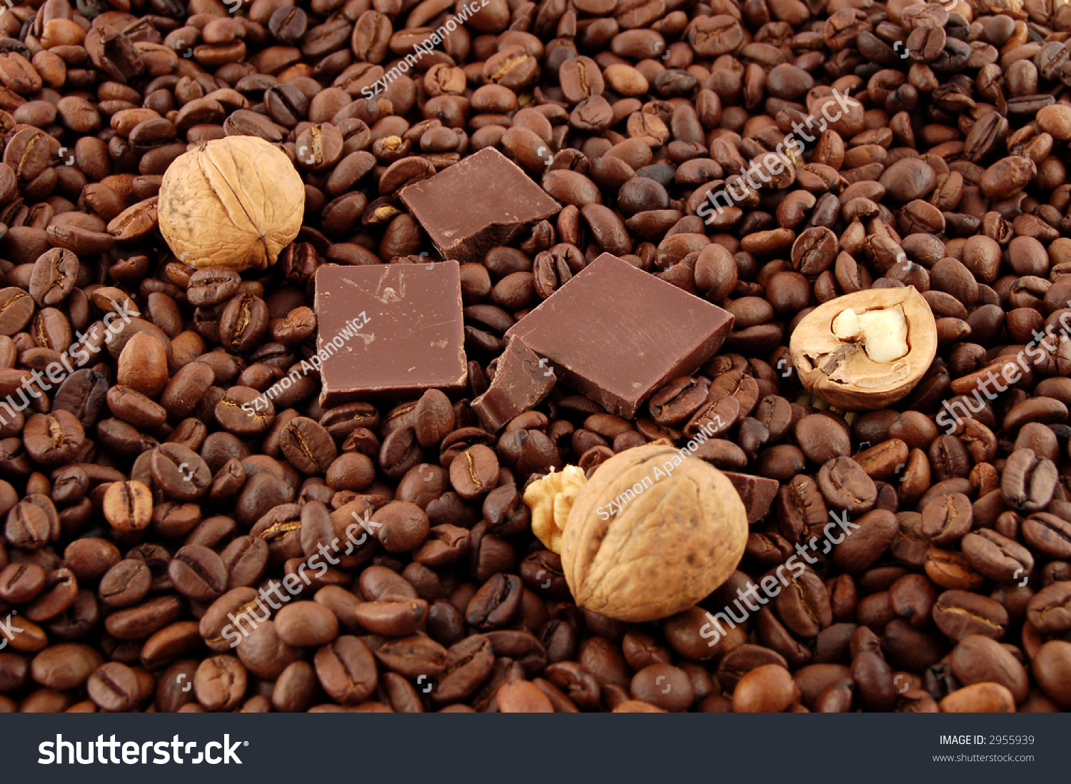 Coffee Beans, Walnuts And Chocolate Stock Photo 2955939 : Shutterstock