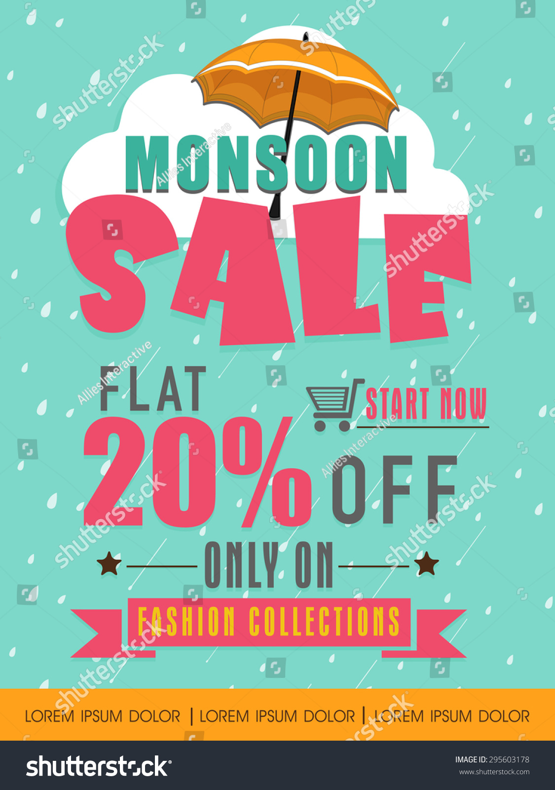 Monsoon Sale Flat 20 Discount Offer Vector 295603178 – Sale Flyer Design