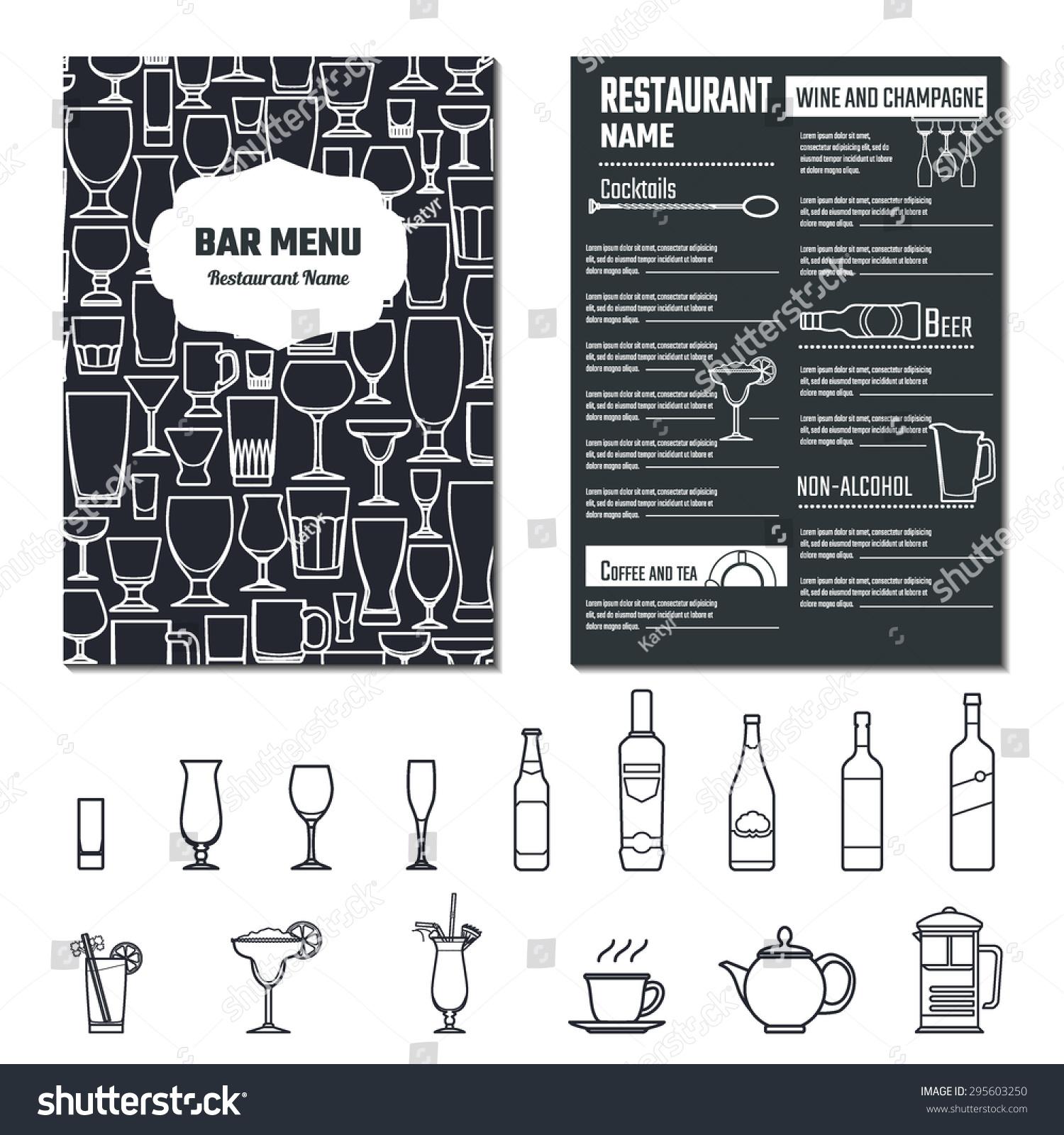 Vector illustration of drinks menu for design website