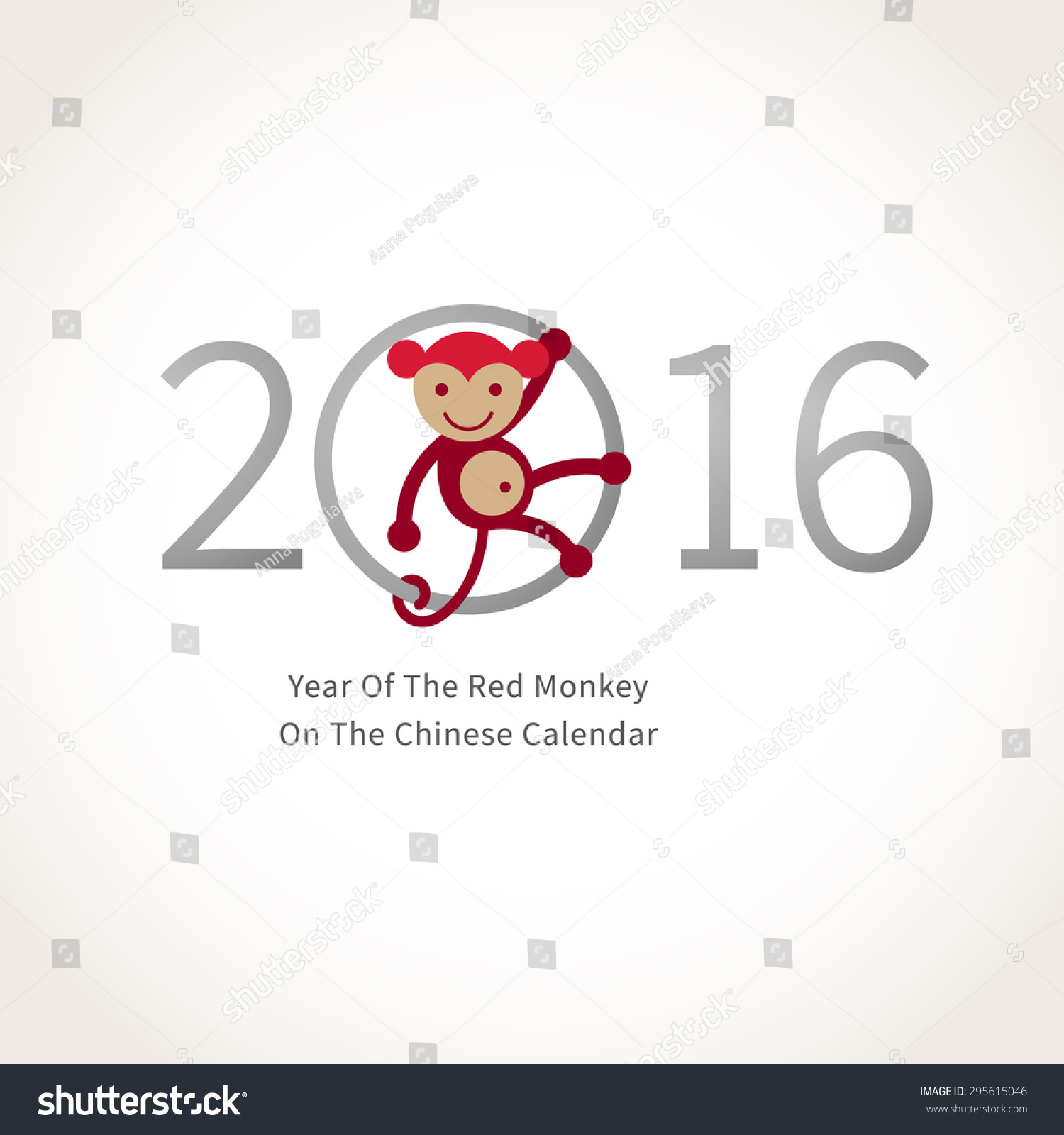 Symbol 2016 red smiling monkey clinging stock vector 295615046 symbol of 2016 red smiling monkey clinging to a circle vector element for new buycottarizona