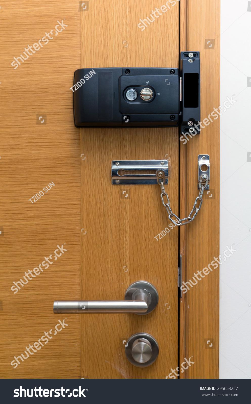 Door Lock On Wooden Door Stock Photo 295653257 - Shutterstock