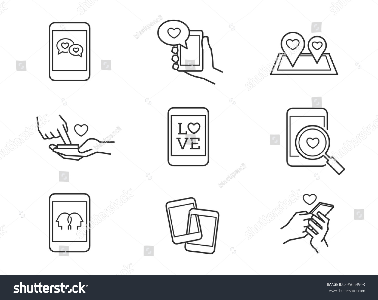 Online Dating Phone Chat Love Icons Stock Vector
