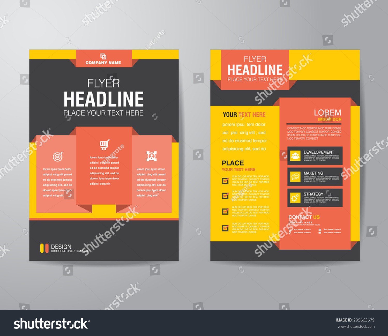 Corporate brochure flyer design layout template stock for Typography brochure design