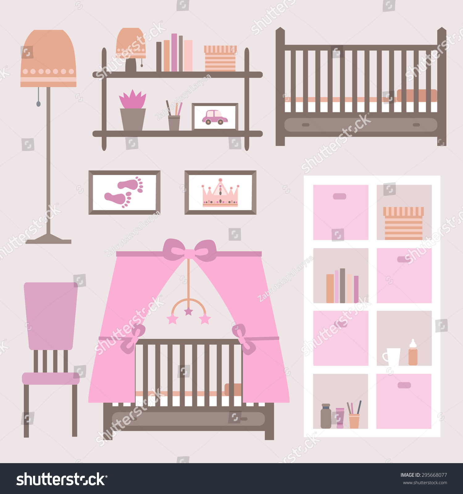 girl baby furniture. Child Room For The Newborn Girl. Baby With Furniture. Nursery Interior. Vector Girl Furniture