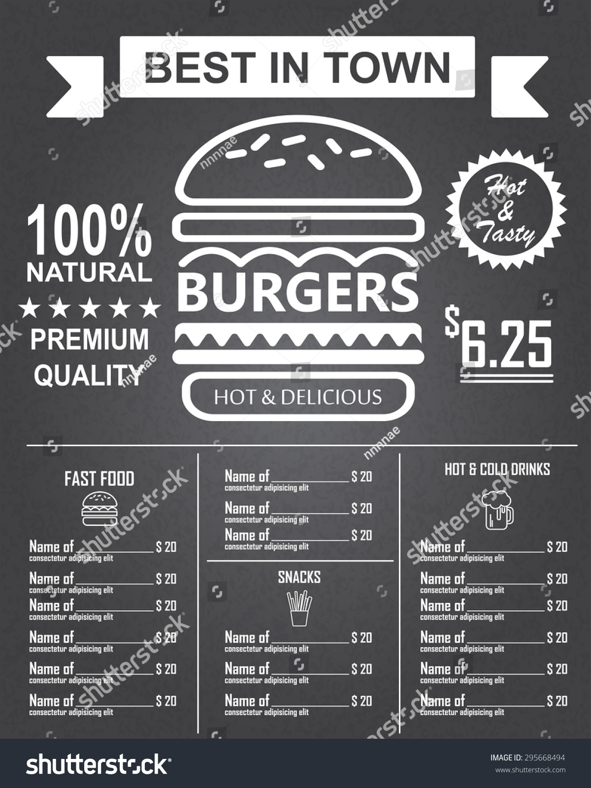 Poster design elements - Burger Menu Poster Design On The Chalkboard Infographics Background And Elements Can Be Used