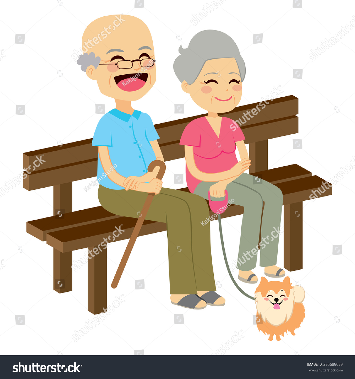 Cute Senior Couple Sitting On Wooden Bench With Dog ...