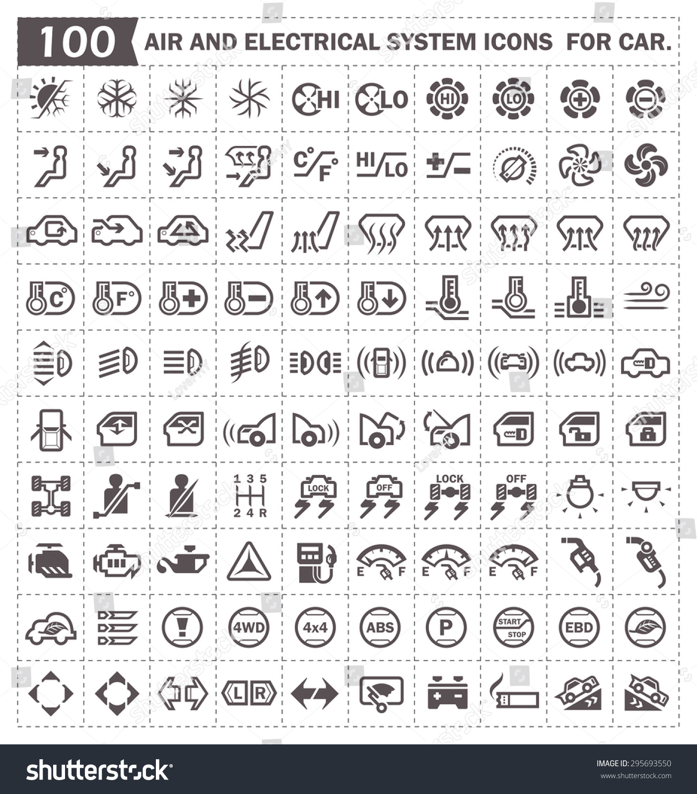 Stock Vector Car Dashboard And Air Conditioning System Vector Icon Sets