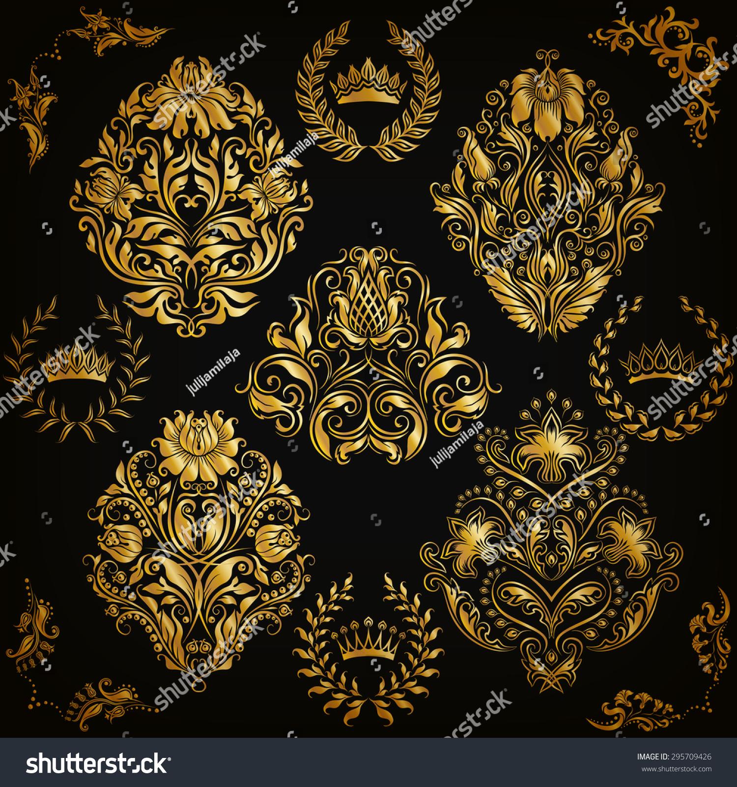 Set Of Black Flower Design Elements Vector Illustration: Set Of Gold Damask Ornaments. Floral Element, Ornate