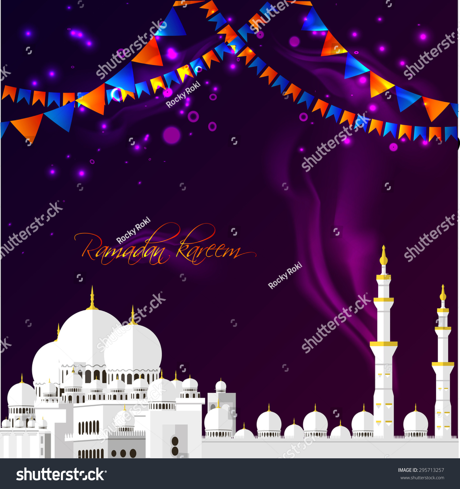 Ramadan kareem greeting cards muslim background stock vector ramadan kareem greeting cards muslim background mosque with ribbons and stars vector illustration m4hsunfo