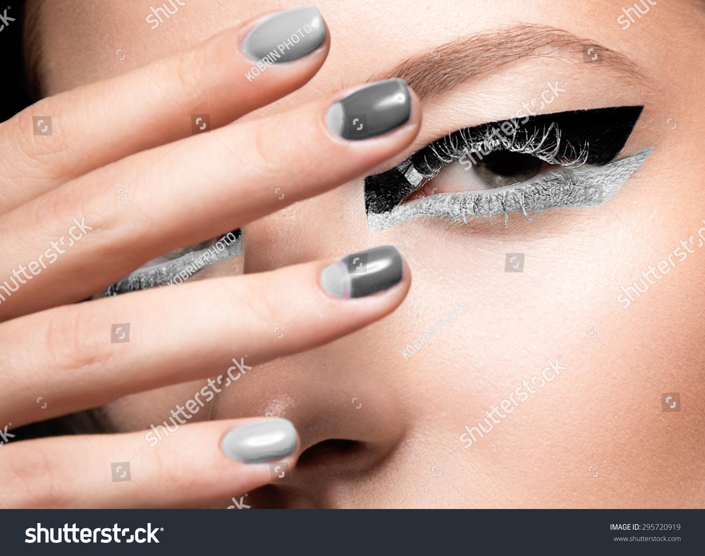 Beautiful Girl Bright Creative Fashion Makeup Stock Photo (Royalty ...