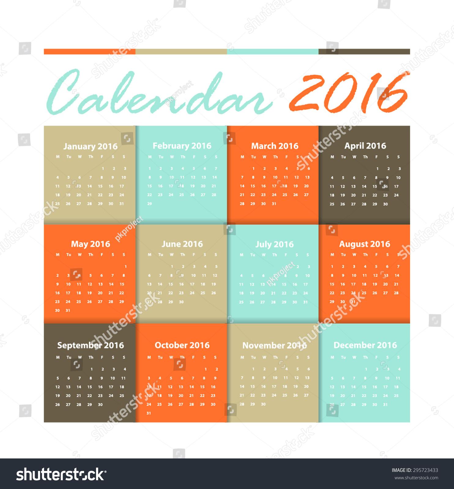 Calendar Typography Vector : Calendar vector earthtone design stock