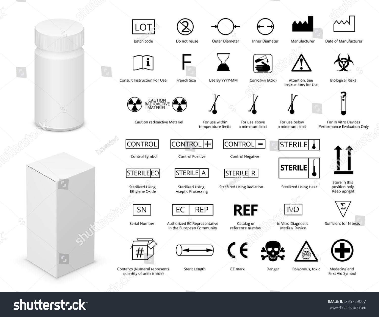 Vector set international medical package symbols stock vector vector set of international medical package symbols and medicine bottle with cardboard package illustration eps8 buycottarizona Images