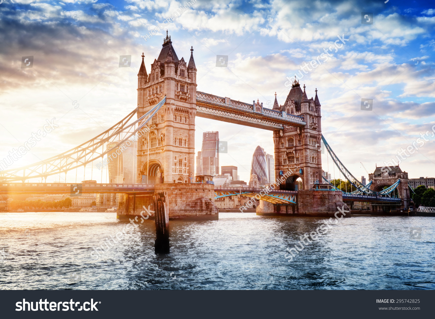 Tower Bridge in London the UK Sunset with beautiful clouds Drawbridge opening One of English symbols