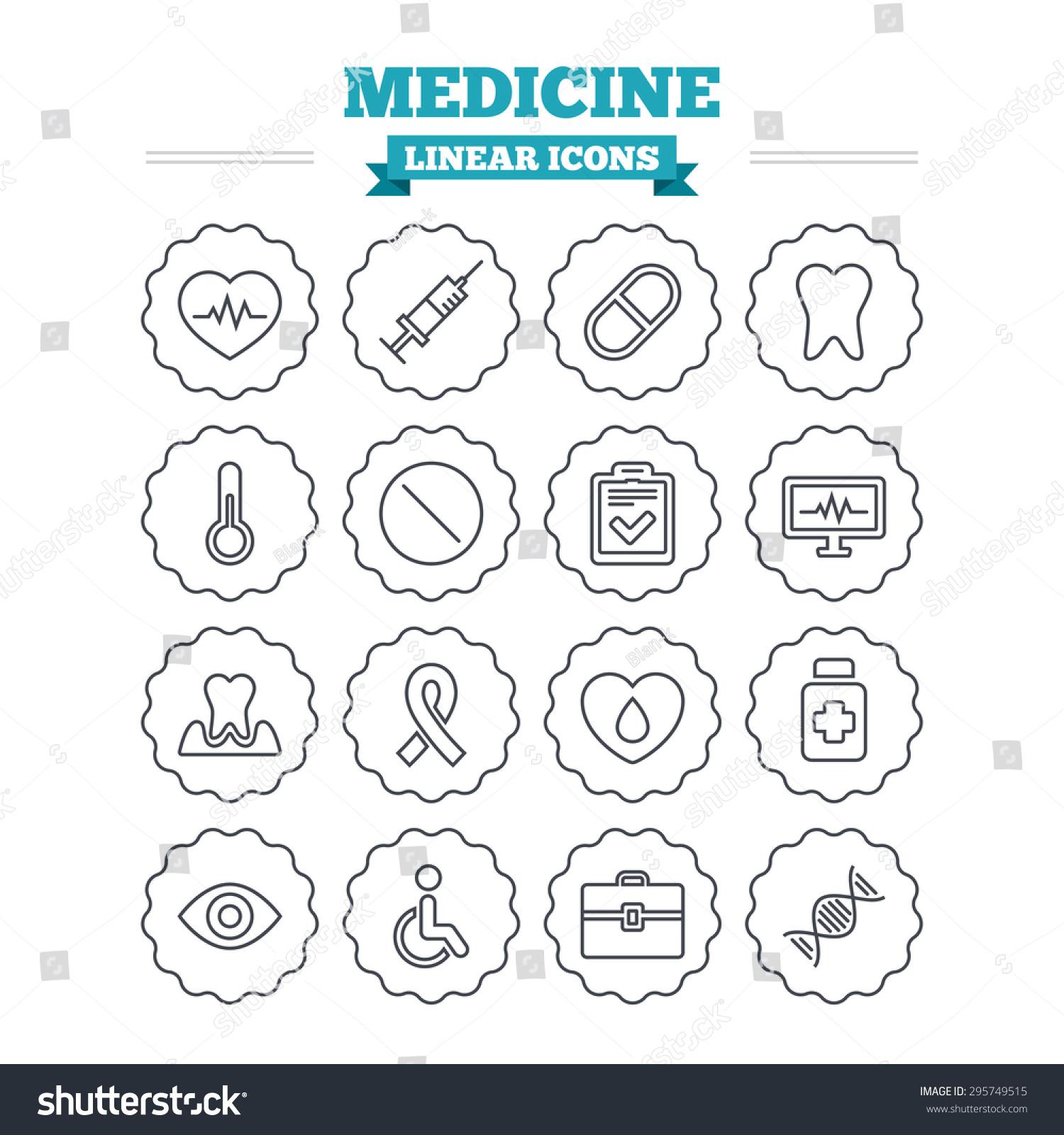 Medicine linear icons set syringe heartbeat stock vector 295749515 syringe heartbeat and pills symbols tooth health eye biocorpaavc Gallery