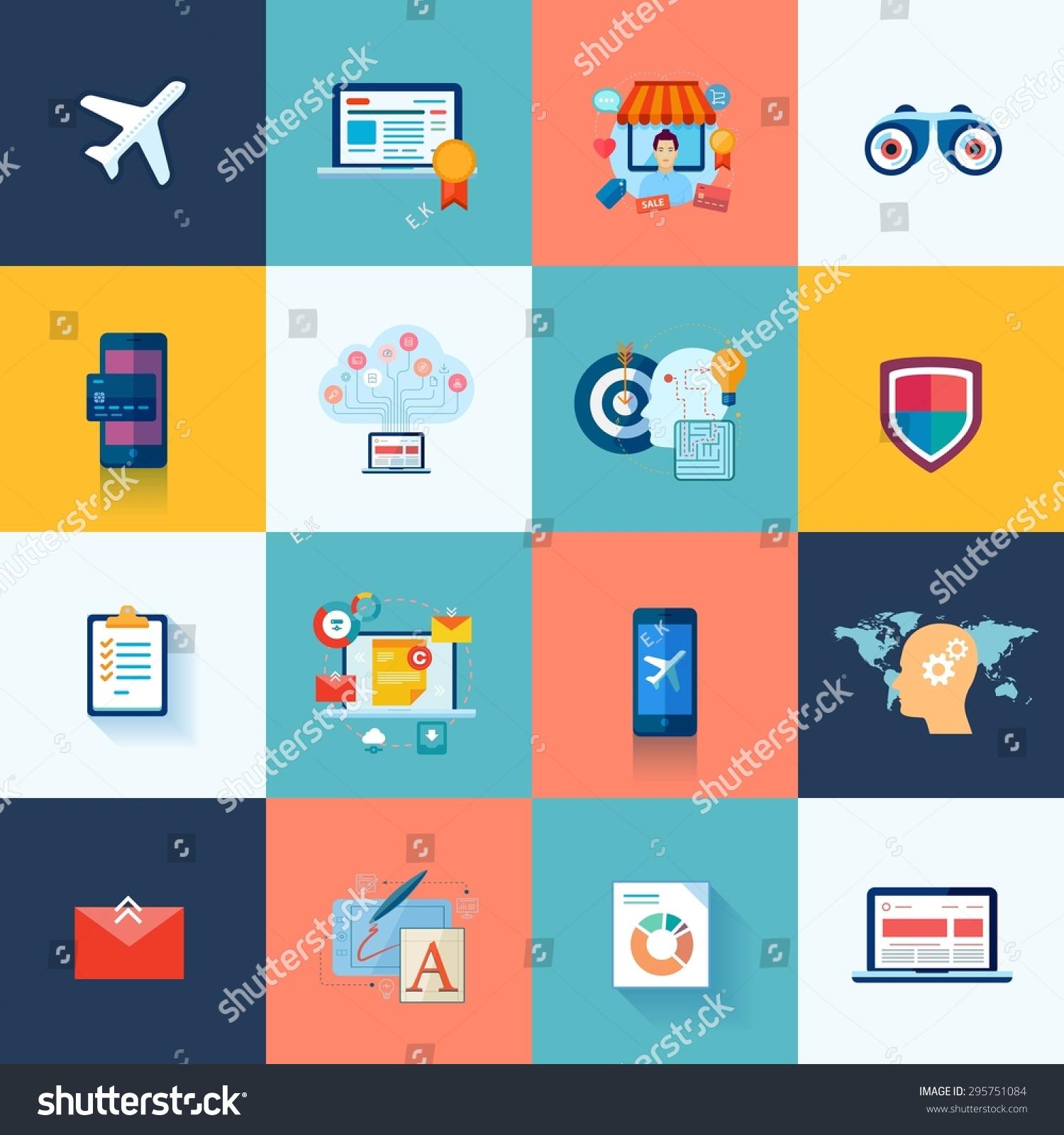 Set Modern Flat Design Icons Application Stock Vector Royalty Free 295751084