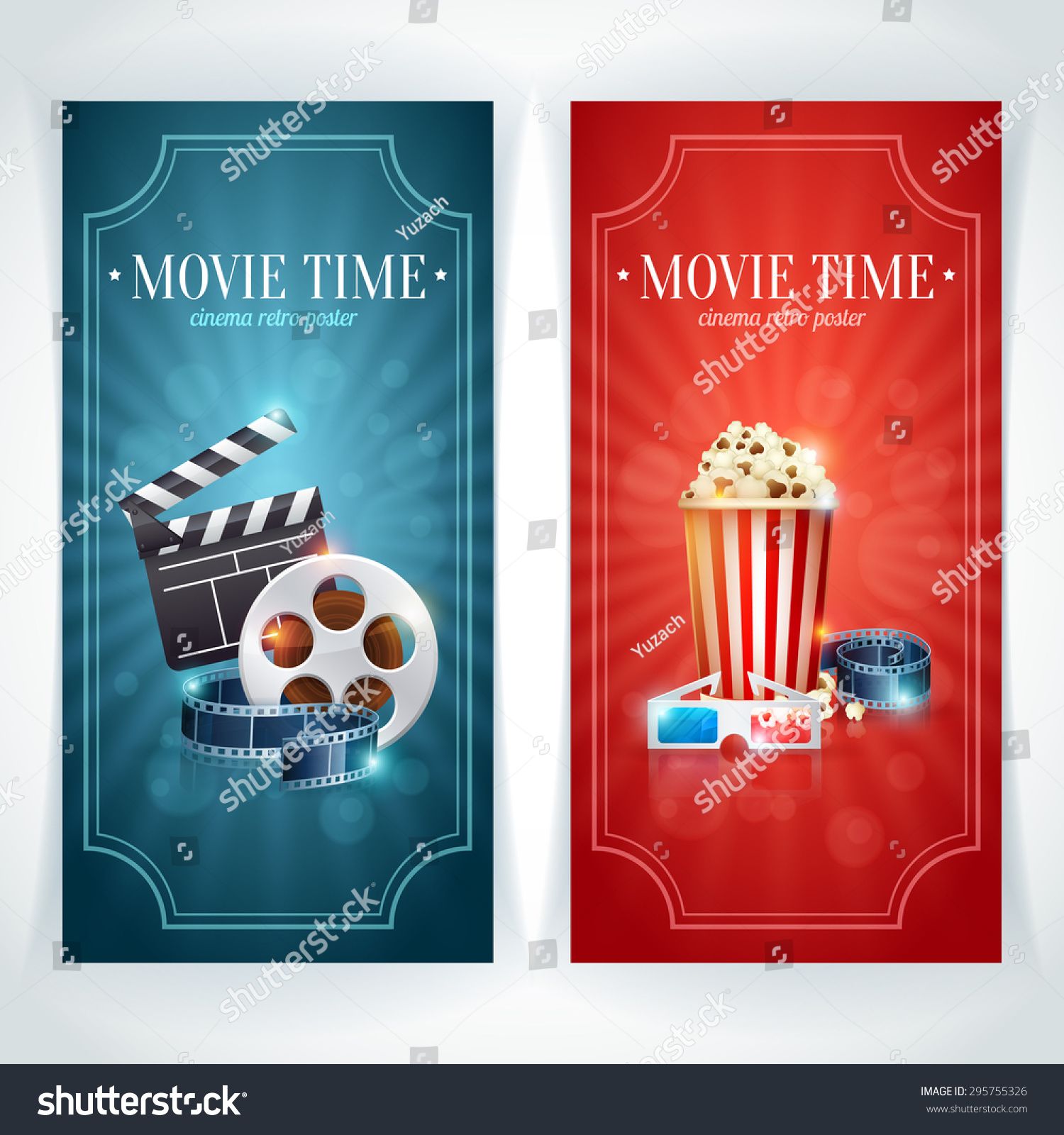 realistic cinema movie poster template with film reel clapper popcorn 3d glasses