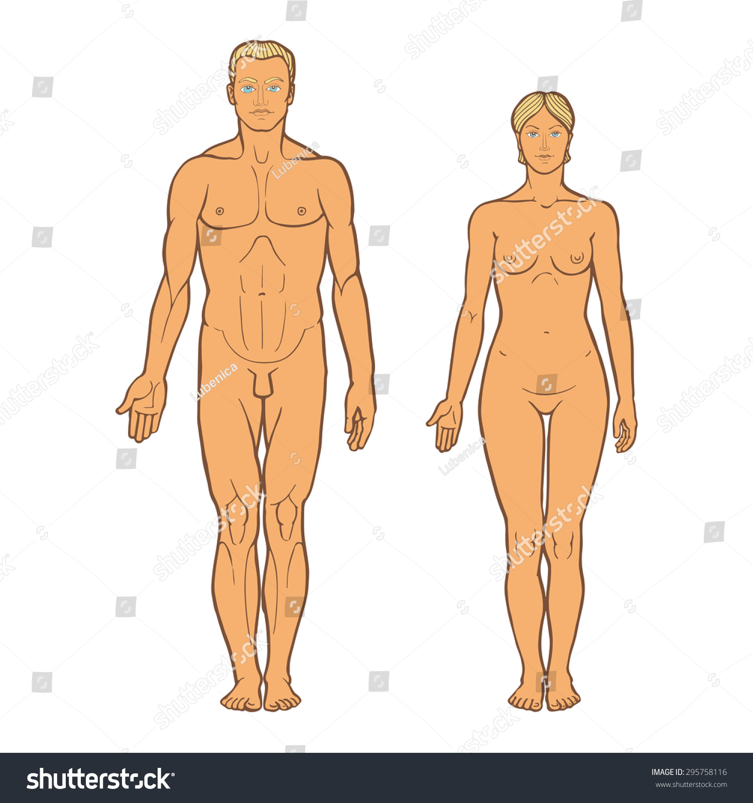 realistic drawing naked man woman standing stock photo (photo