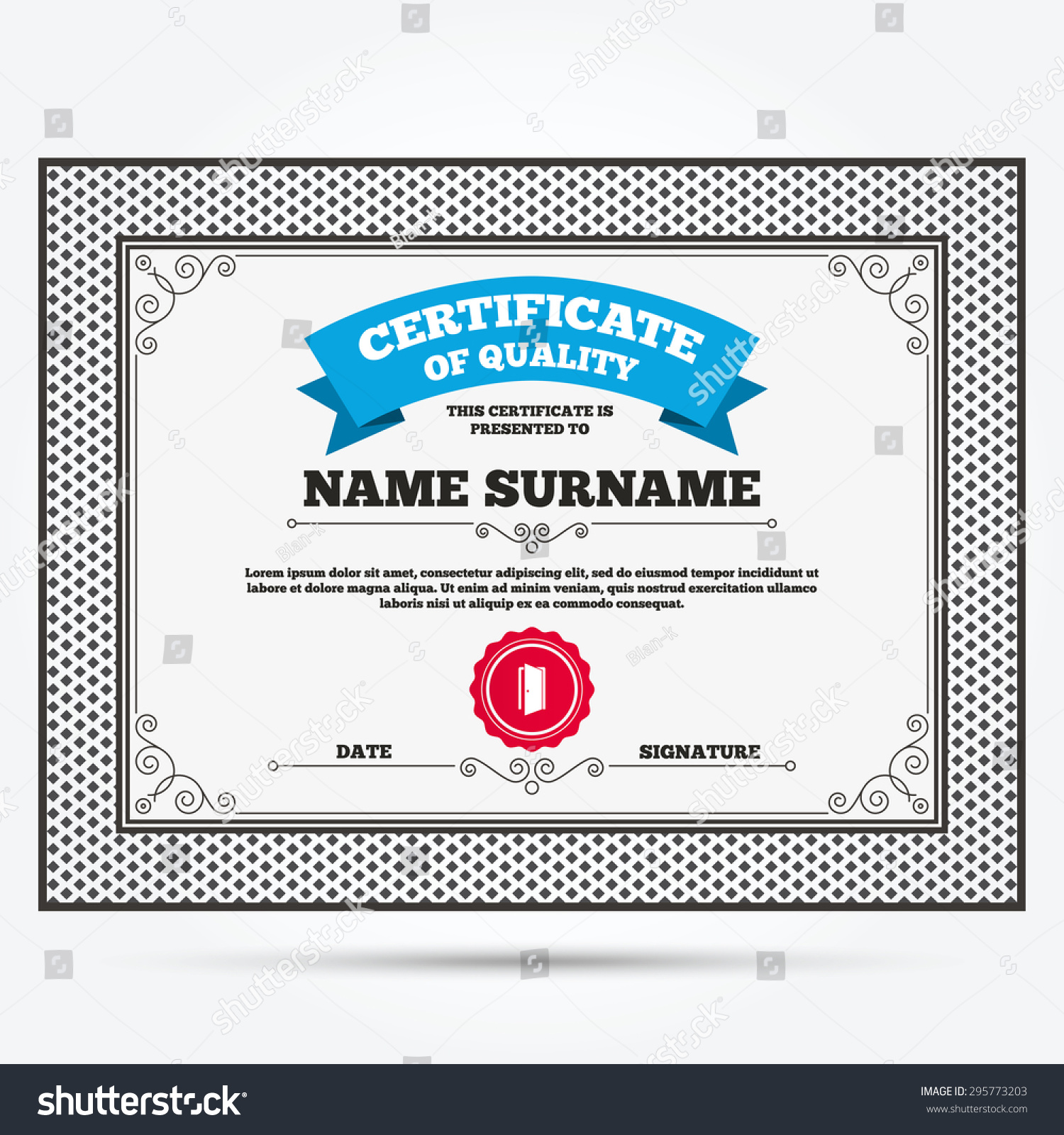 Certificate Quality Door Sign Icon Enter Stock Vector 295773203 ...