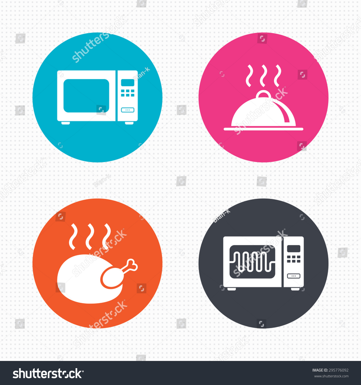 Circle Buttons Microwave Grill Oven Icons Stock Vector Royalty Free