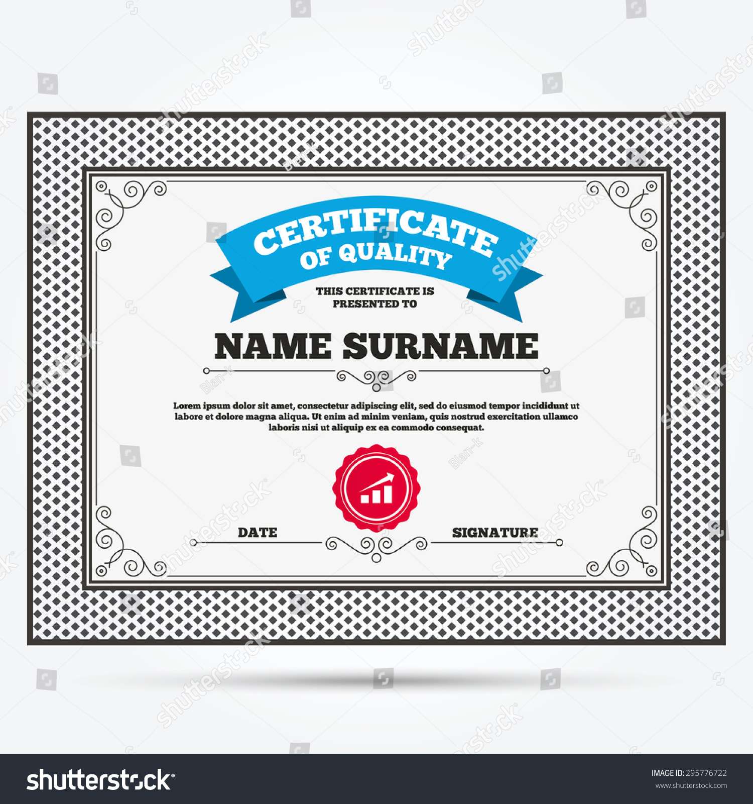 Best certificate of quality template images example resume certificate quality chart arrow sign icon stock vector 295776722 yelopaper Images