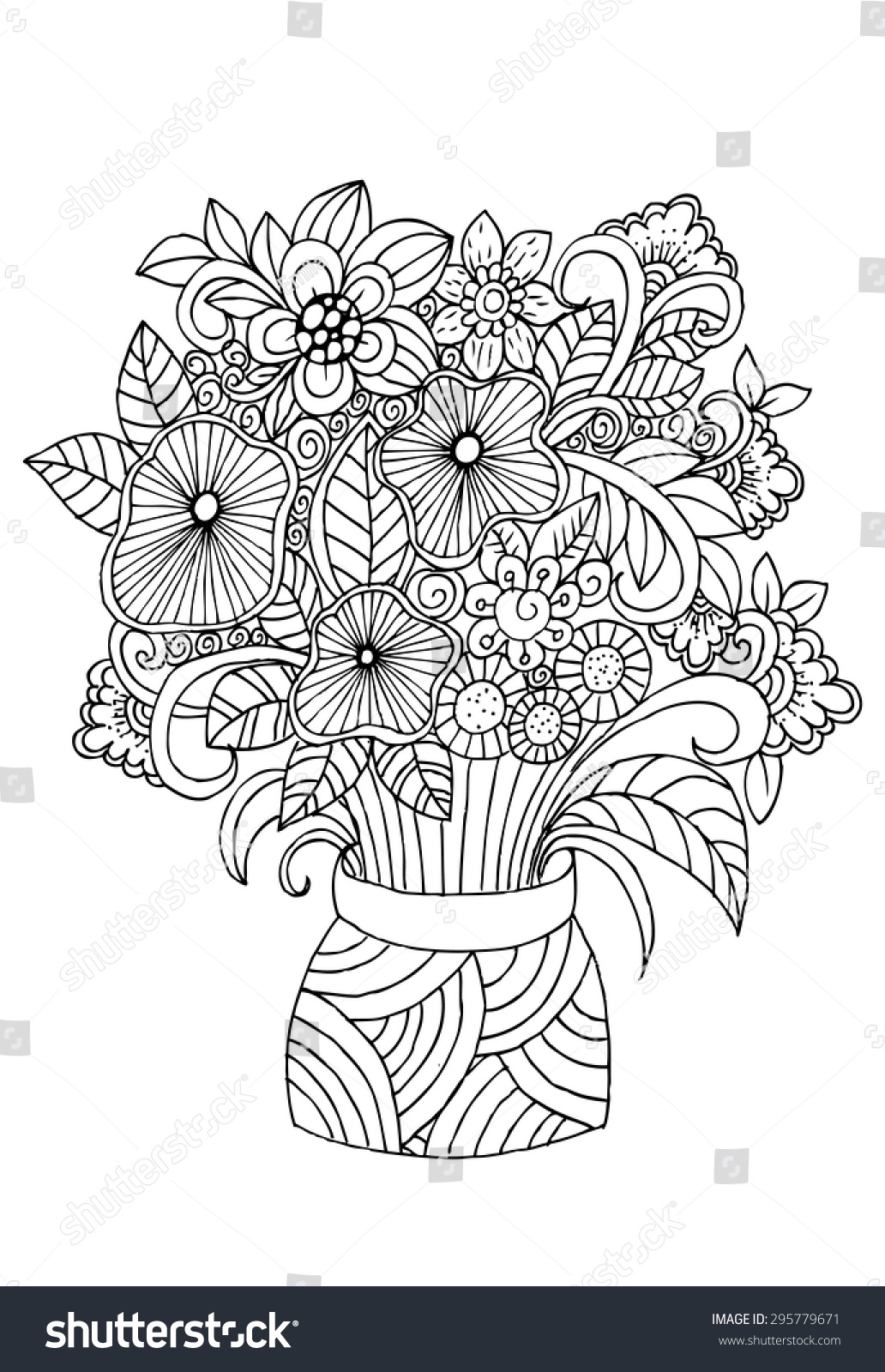 Flowers vase doodle floral pencil drawing stock vector 295779671 flowers in a vase doodle floral pencil drawing reviewsmspy