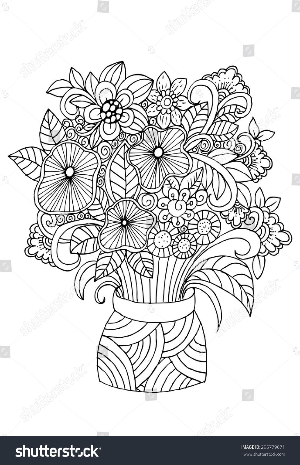 flowers vase doodle floral pencil drawing stock vector 295779671 shutterstock. Black Bedroom Furniture Sets. Home Design Ideas