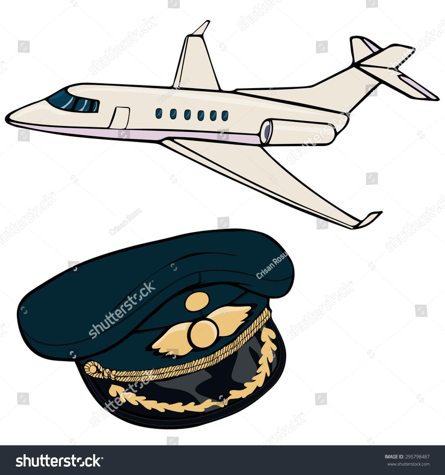 vector illustration airplane pilot cap cartoon stock vector