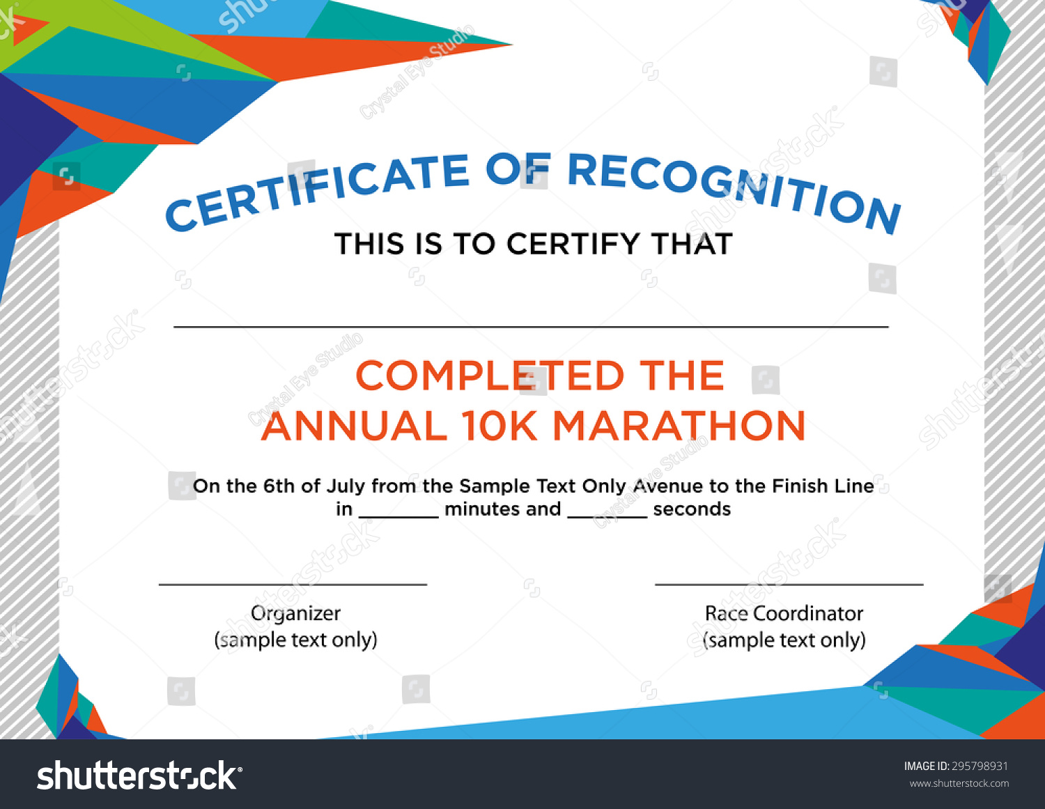 futuristic style certificate of recognition with sample text editable clip art