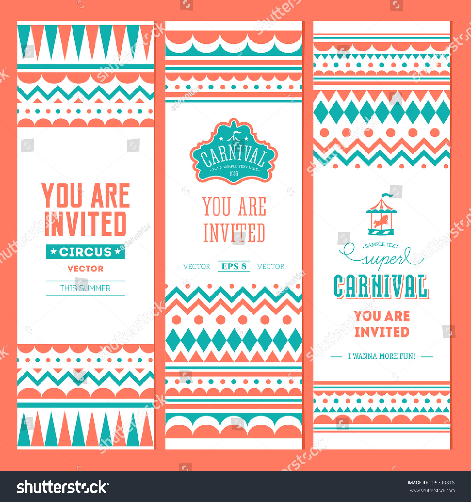 Carnival banner collection circus ticket birthday stock photo photo carnival banner collection circus ticket birthday poster invite vector illustration stopboris Image collections