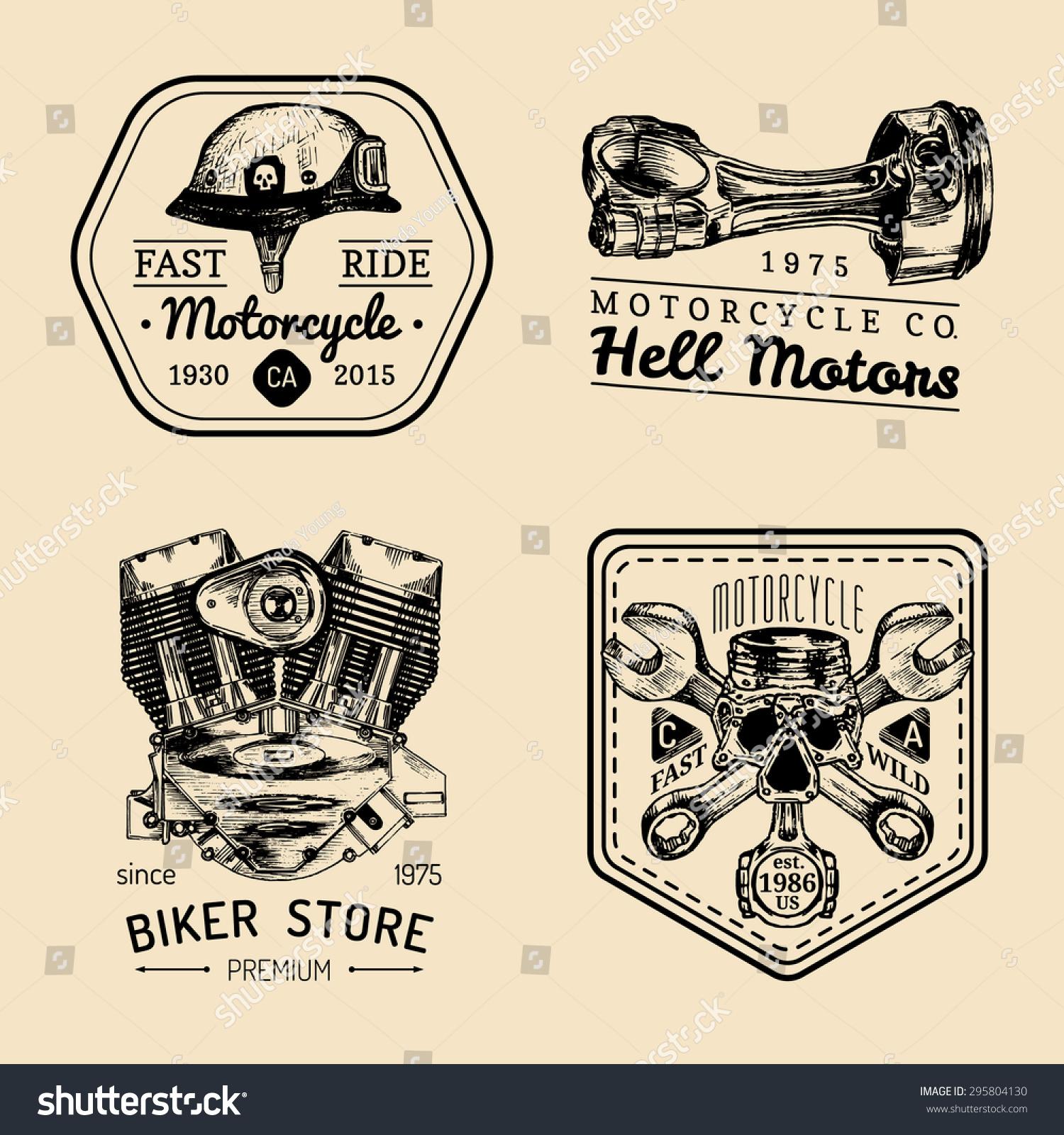 Vector Vintage Motorcycle Repair Logos Set Stock Vector