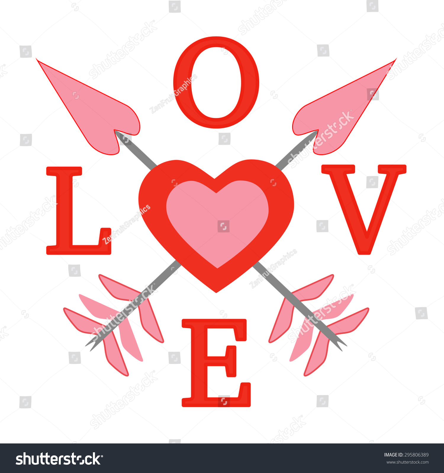 Love Word Letters Hearts Arrows Vector Stock Vector Royalty Free