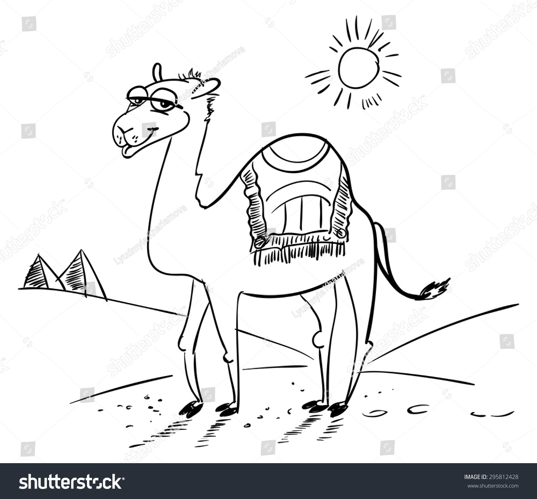 Camel Desert Funny Cartoon Character Vector Stock Vector ...