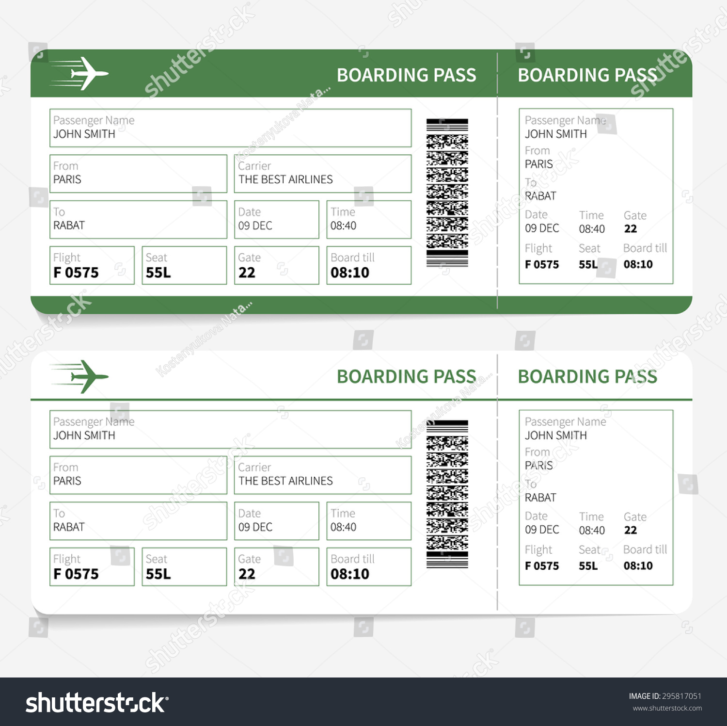 Airline Boarding Pass Green Ticket Isolated Stock Vector