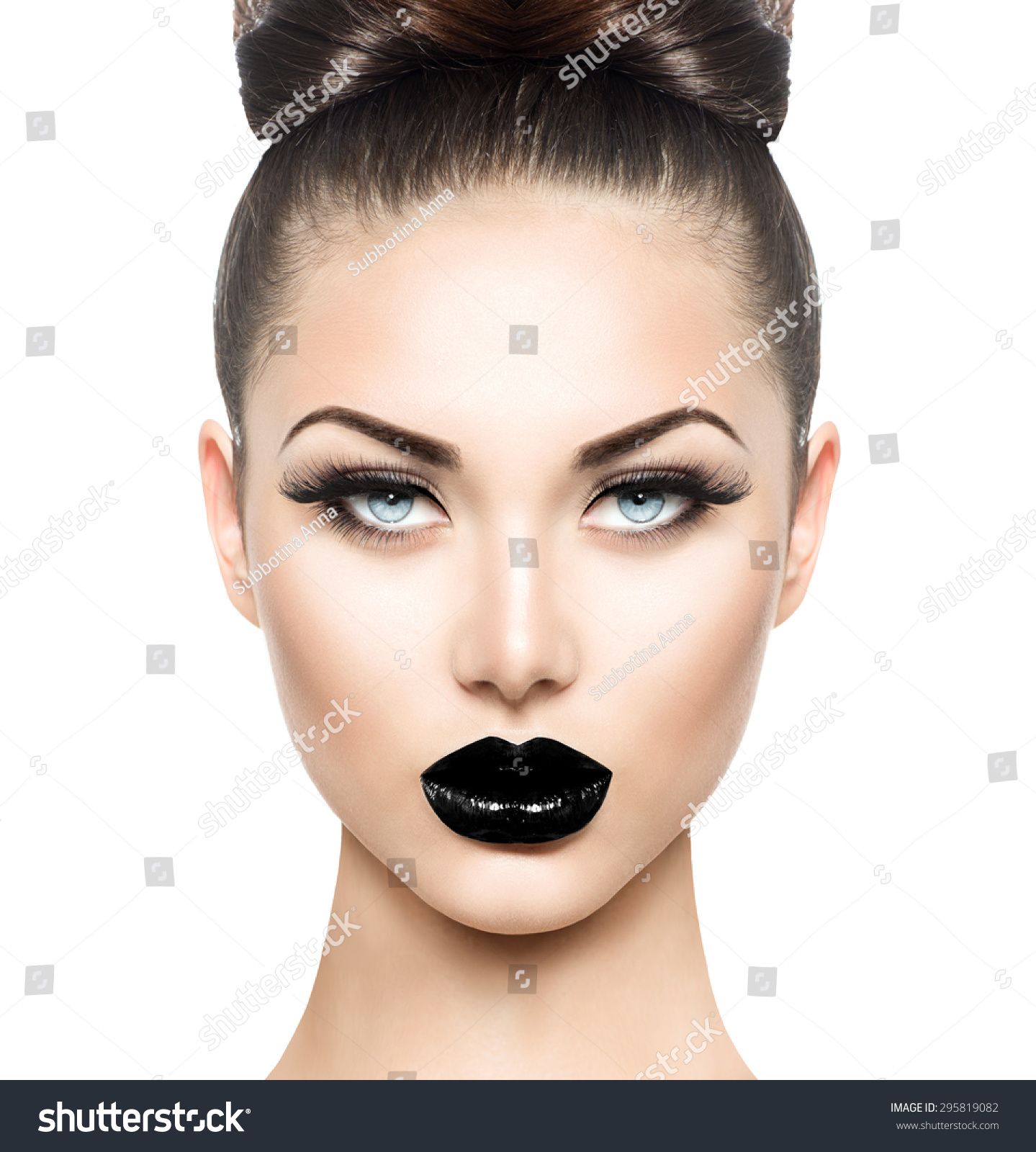 Dark Lipstick Wedding Makeup : High Fashion Beauty Model Girl With Black Make Up And Long ...