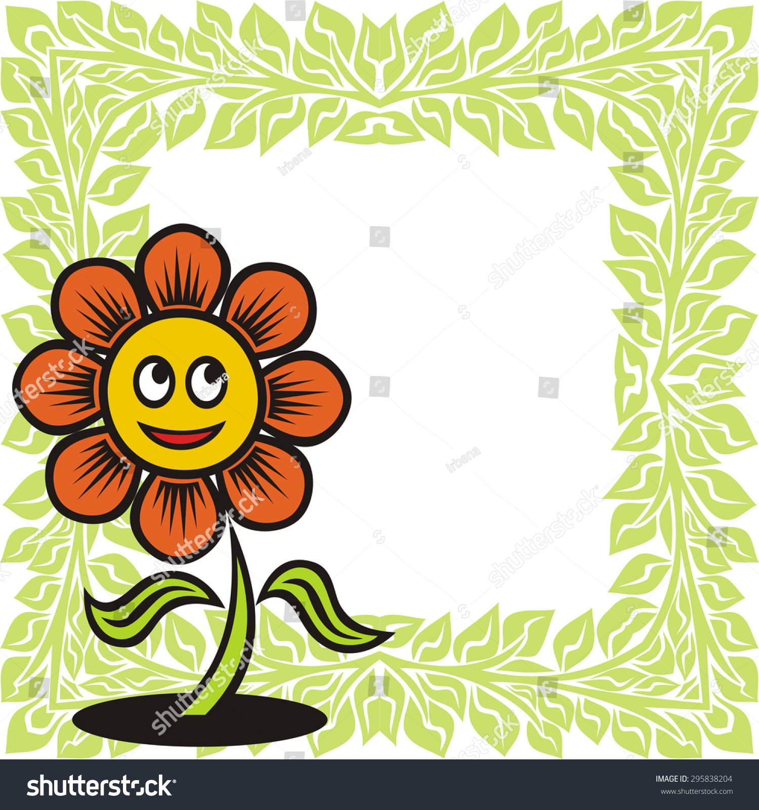 Beautiful flower cute cartoon nature pattern stock vector 295838204 beautiful flower cute cartoon and nature pattern frame vector illustration izmirmasajfo