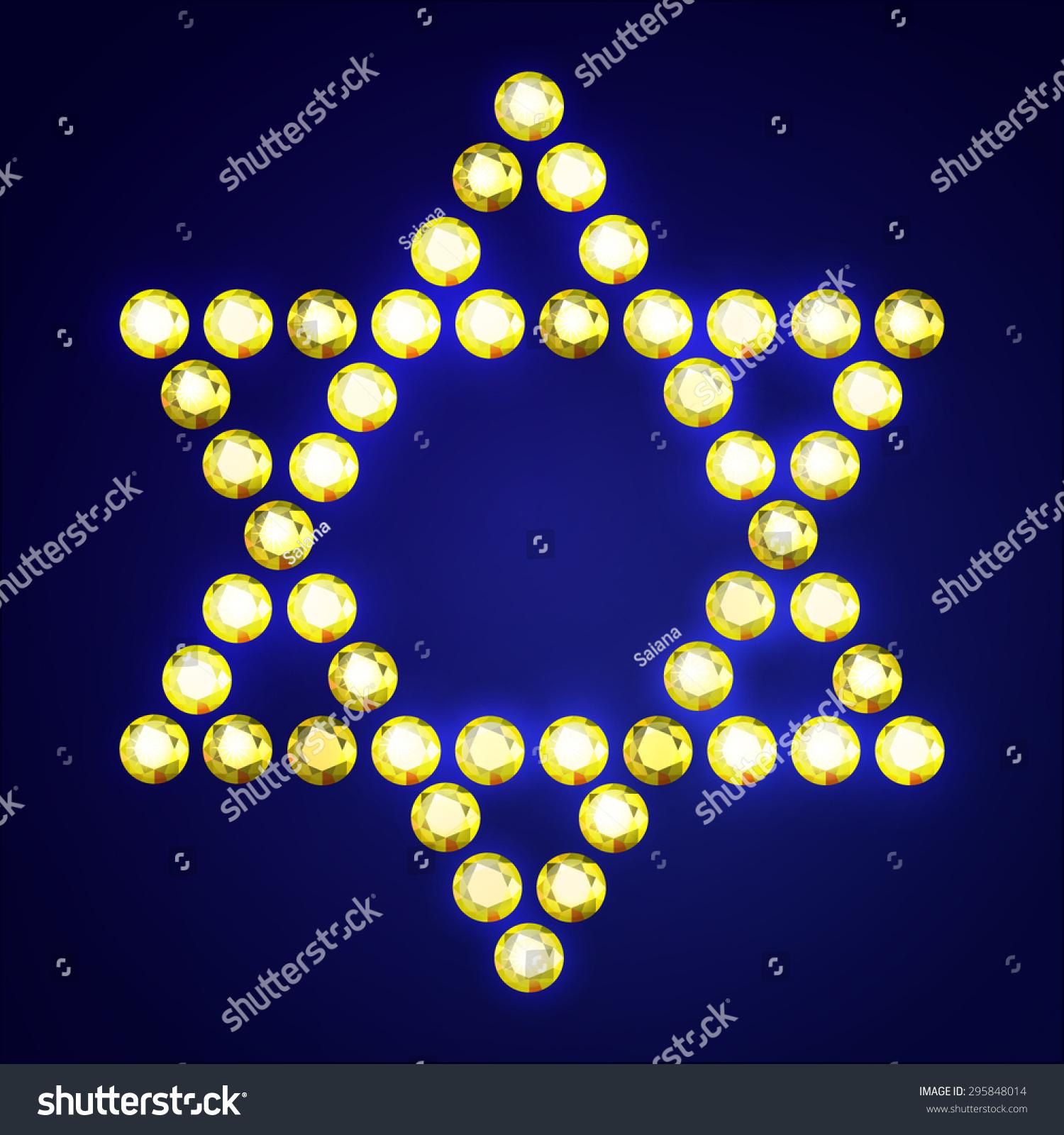 Vector Illustration Jewish Religious Symbol 6 Corners Stock Vector
