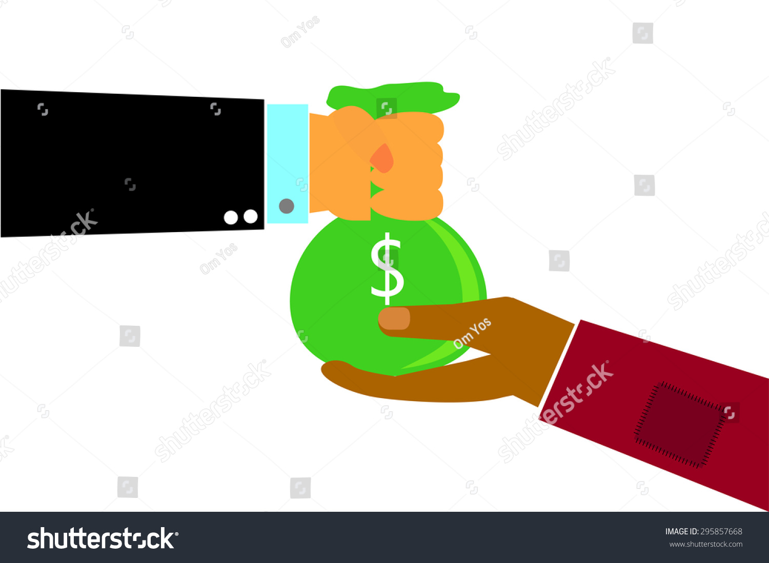 Hand rich man hand give sack stock vector 295857668 shutterstock hand rich man hand give a sack of money to poor man hand dollar sciox Images