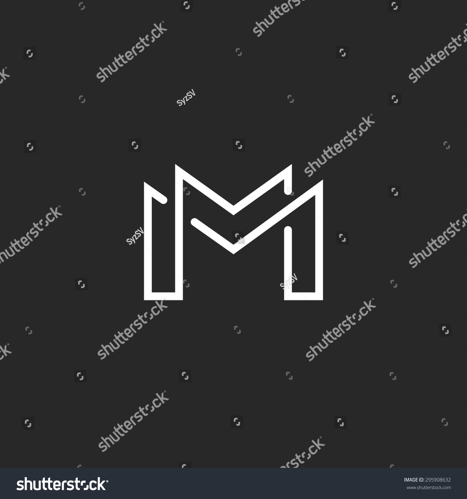 letter m logo stock vector image 63388199 letter m logo or mm initials two modern monogram symbol 822
