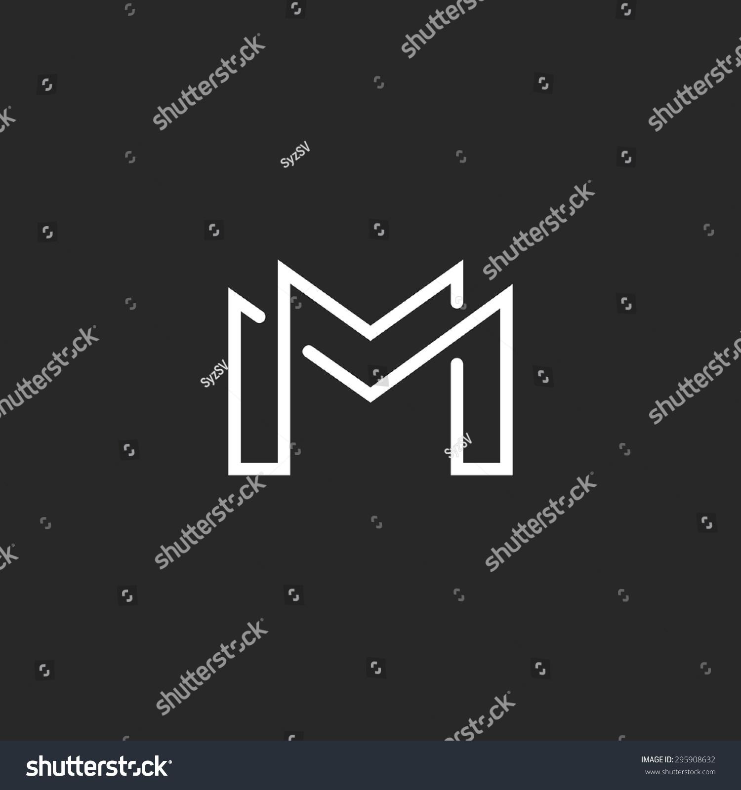 Letter M Logo Or Two Modern Monogram Symbol, Mockup Black