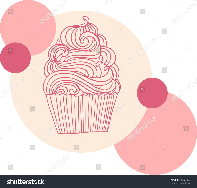 hand drawn vector cupcake illustration pink stock vector