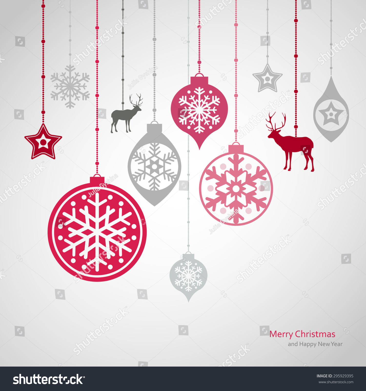Christmas Decorations Vector Set Snowflakes New Stock