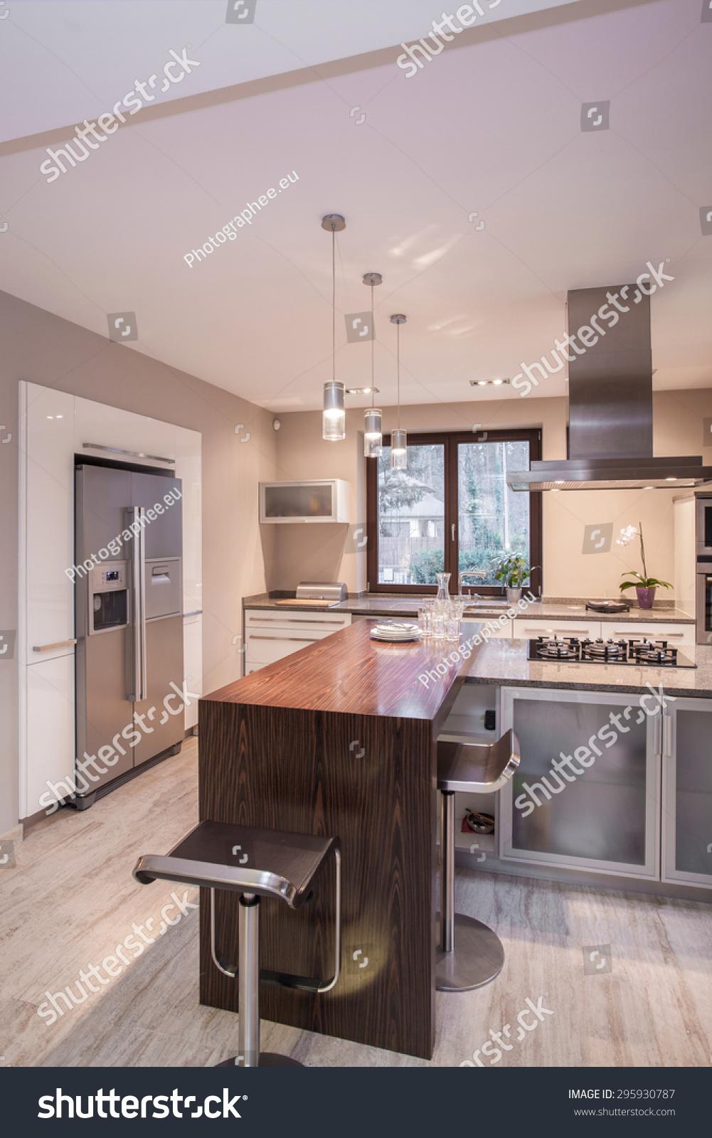 Vertical View Luxury Modern Kitchen Design  Interiors Stock Image