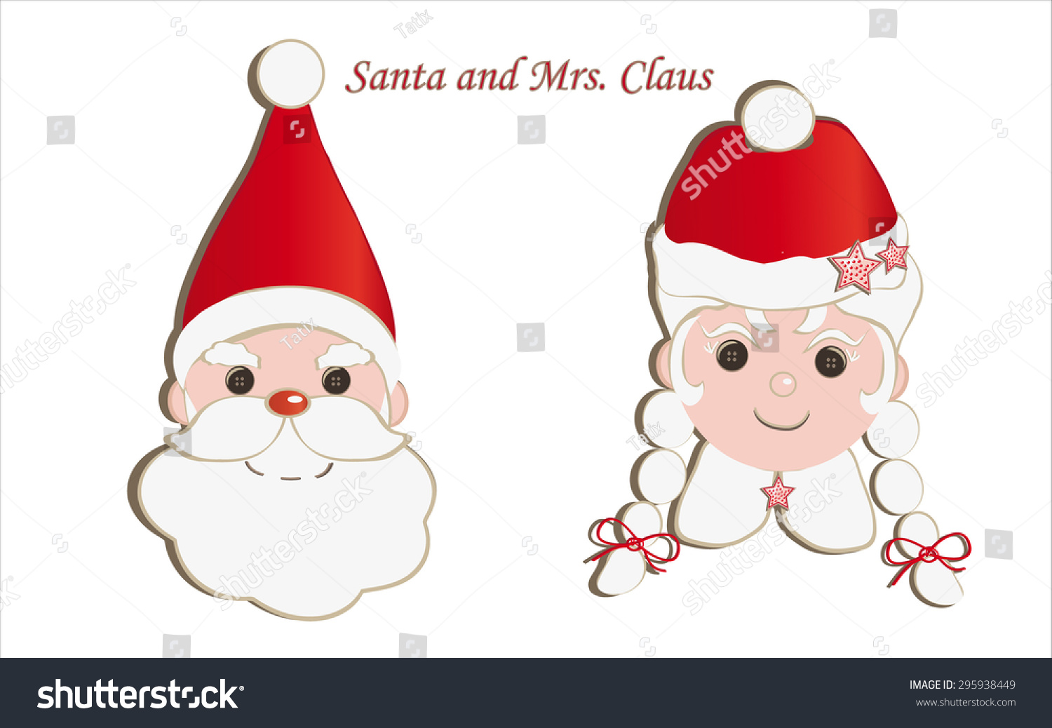 Mother Christmas Cartoon.Face Father Mother Christmas Isolated On Stock Illustration