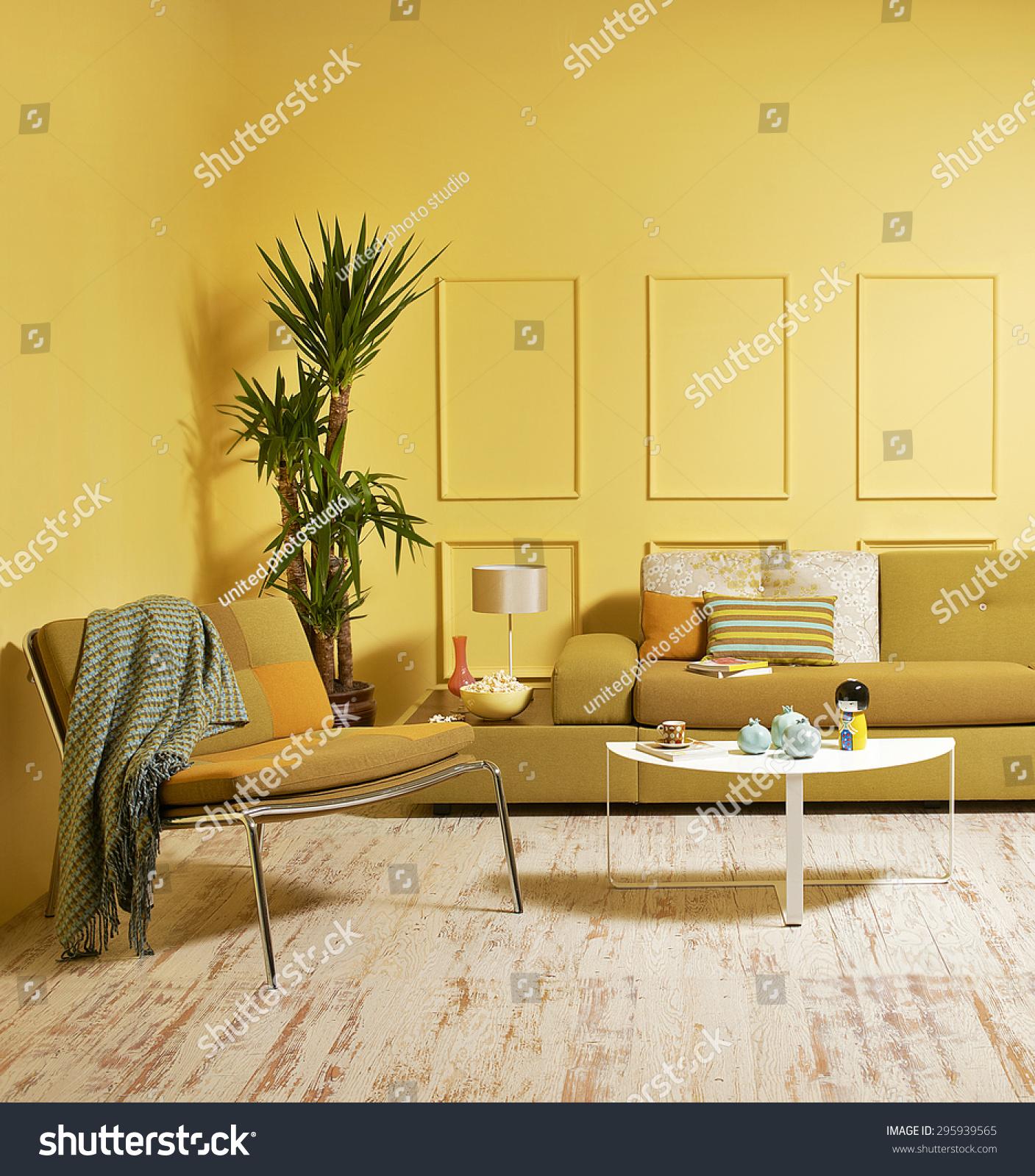 Yellow Wall Modern Interior Style Stock Photo 295939565