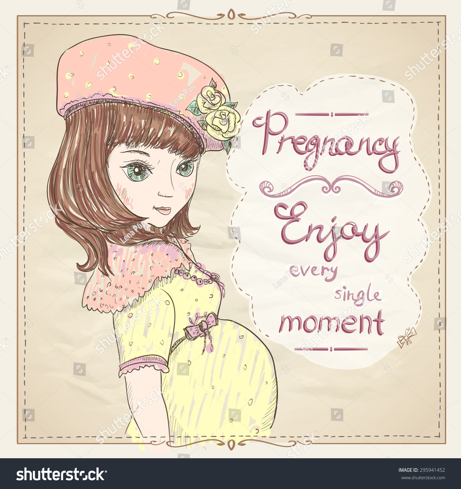 Pregnancy Quotes Card Enjoy Every Single Stock Vector Royalty Free 295941452