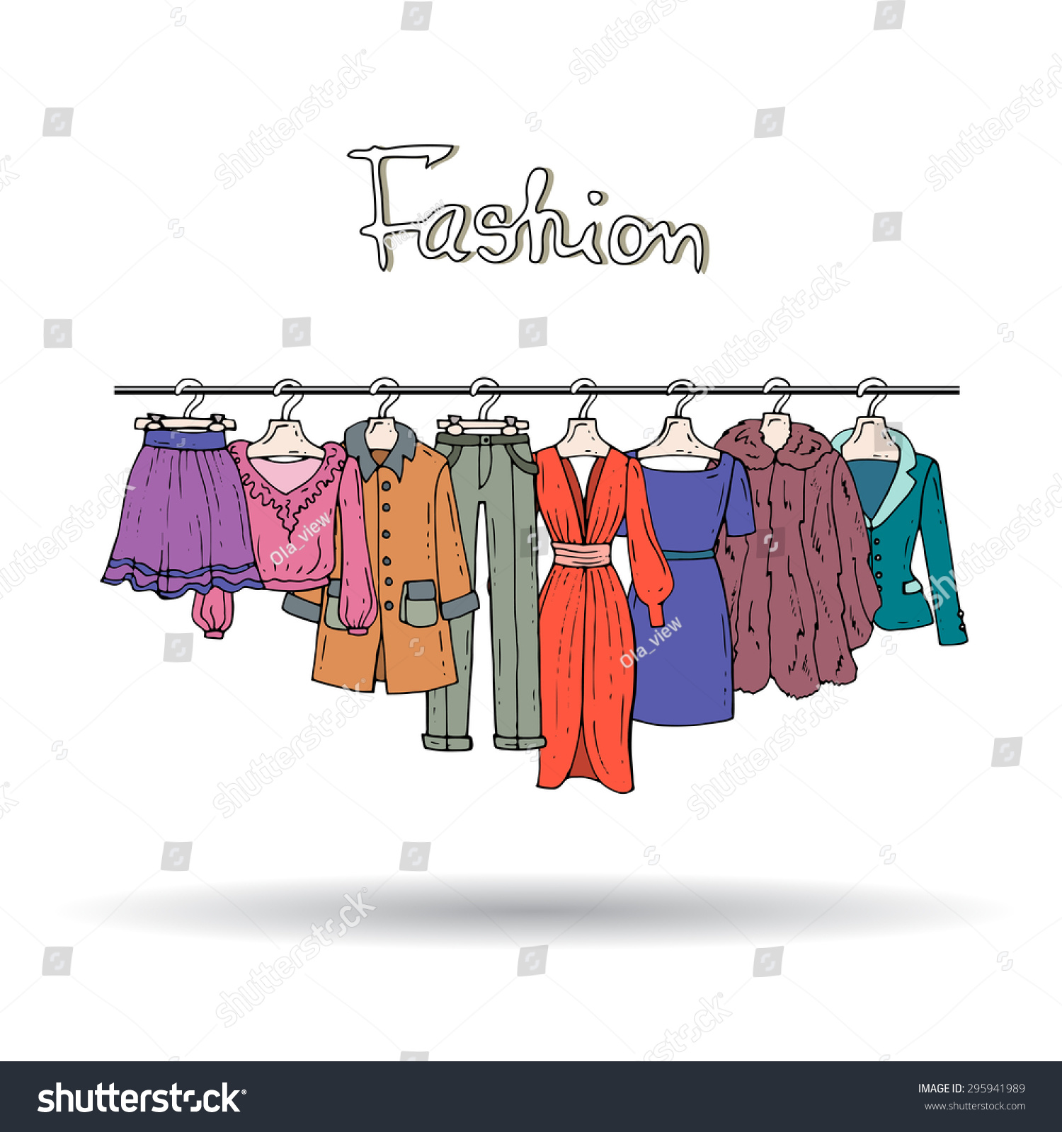 Cute Hand Drawn Illustration Fashionable Clothes Stock Vector Royalty Free 295941989