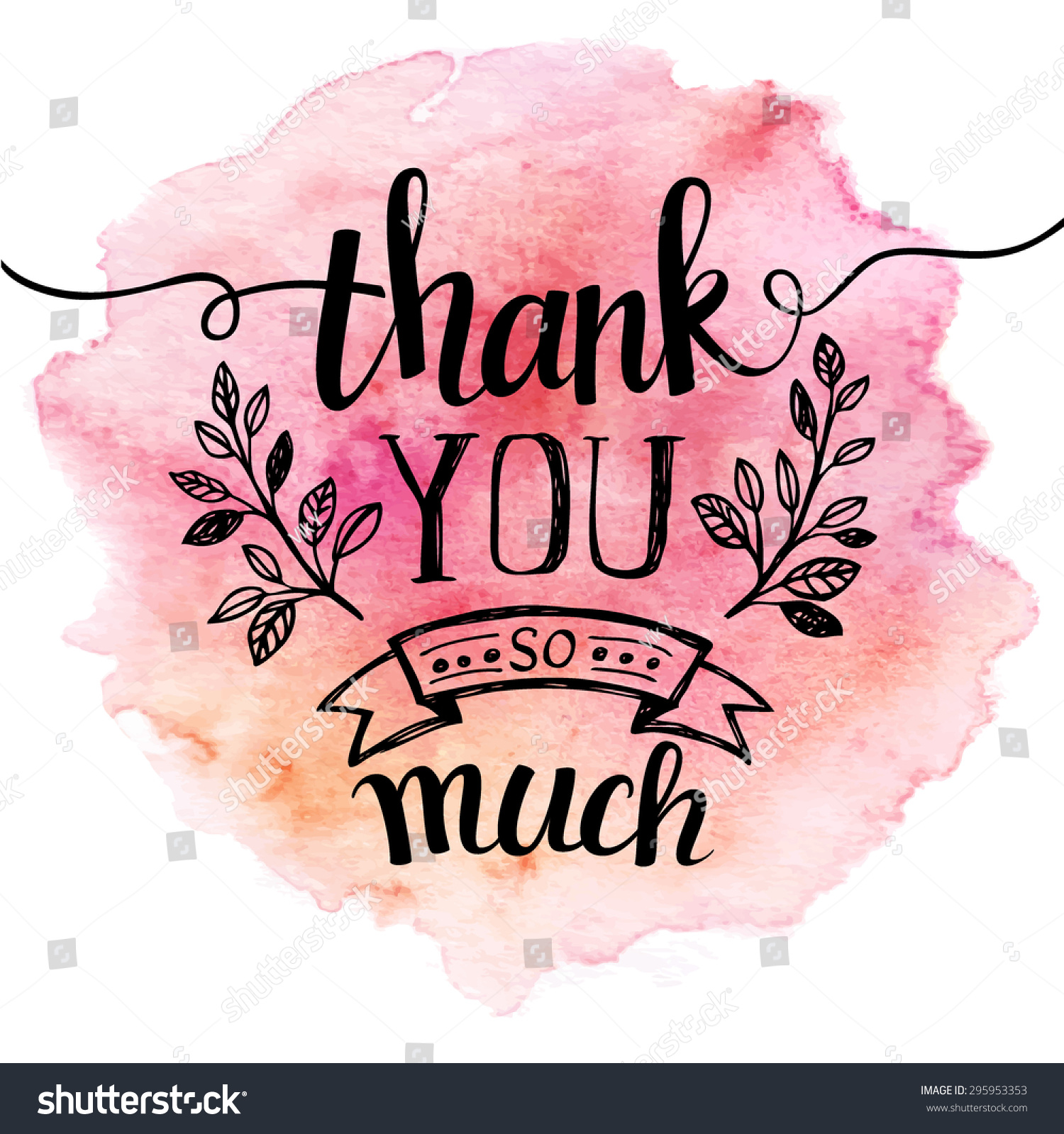 Thank You Mach Hand Lettering Watercolor 295953353 on File Cursive