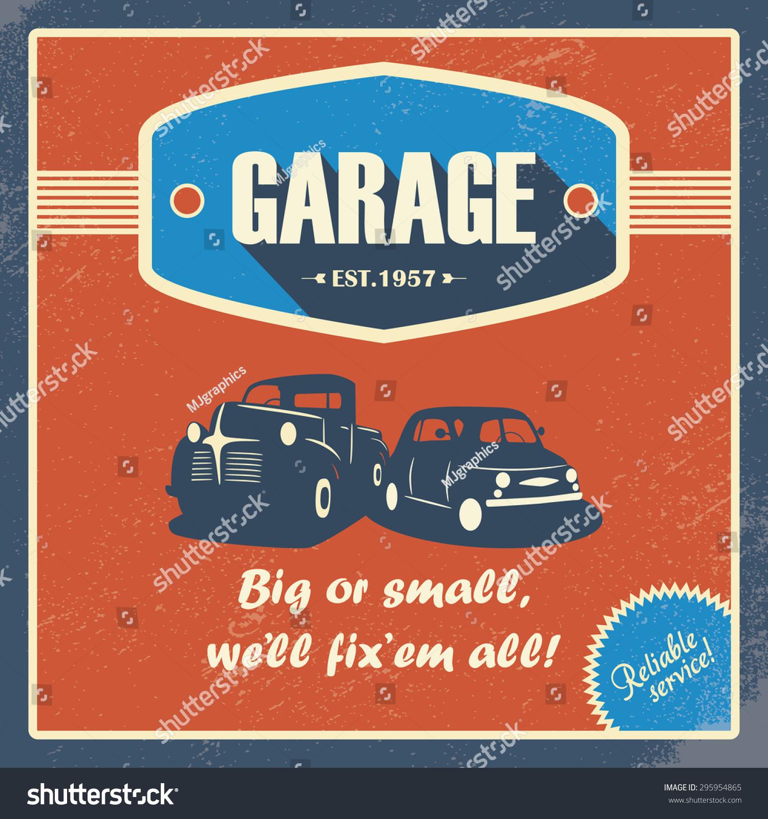 Classic Garage Poster Vintage Cars Retro Stock Vector 295954865 ...